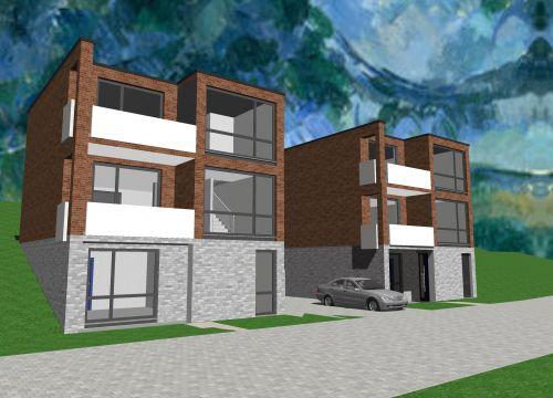 Moderne Architektur Ansicht Visualisierung Watercolor Rendering Gelnhausen Hailer Krüger